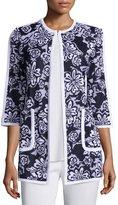 Misook Floral-Print 3/4-Sleeve Jacket