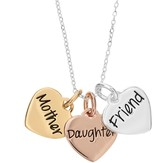 """Timeless Sterling Silver Tri-Tone """"Mother Daughter Friend"""" Triple Heart Pendant Necklace"""