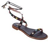 RED Valentino Leather Ankle Wrap Sandal.