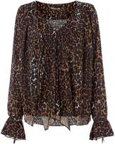 Biba Leopard print waterfall blouse