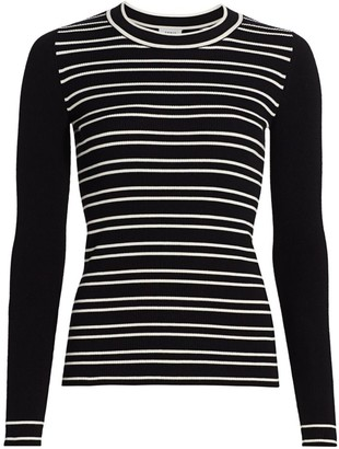 Akris Punto Stripe Long-Sleeve Stretch-Wool Rib-Knit Sweater