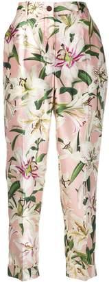 Dolce & Gabbana lily print shantung trousers