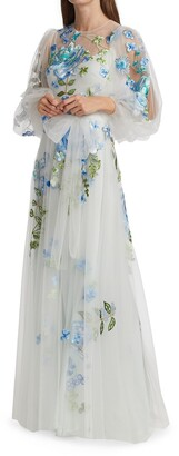 Monique Lhuillier Semi-Sheer Floral Embroidery Gown