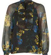 River Island Womens Green floral print chiffon blouse