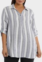 3/4 Tab Sleeve Stripe Linen Shirt