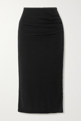 Helmut Lang Gathered Crepe Midi Skirt - Black