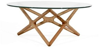 Ash Alamo Coffee Table with Glass Top and Stained Foundry Select