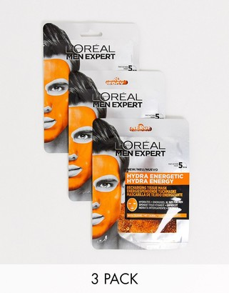 L'Oreal Men Expert Hydra Energetic Re-Charge Face Mask x3