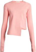 Tibi Asymmetric round-neck ribbed-knit sweater