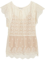 Stella McCartney Lace And Embroidered Tulle Blouse - Ivory
