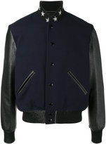 Saint Laurent teddy etoile bomber jacket - men - Cotton/Lamb Skin/Polyamide/Virgin Wool - 46