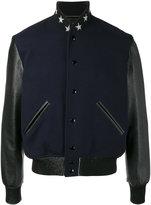 Saint Laurent teddy etoile bomber jacket - men - Cotton/Lamb Skin/Polyamide/Virgin Wool - 50