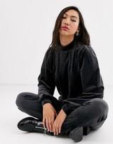 Monki velour puff sleeves sweatshirt in dark grey