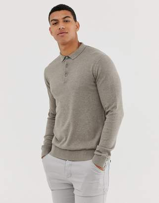 Jack and Jones knitted polo in beige