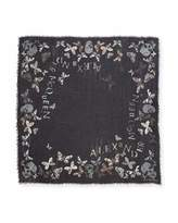 Alexander McQueen Bleached Butterfly & Floral Scarf, Black/Light Gray