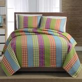 Bed Bath & Beyond Bright Plaid Stripe Twin Quilt Set