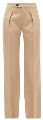 Chloé Pleated Wide-leg Wool-blend Trousers - Tan