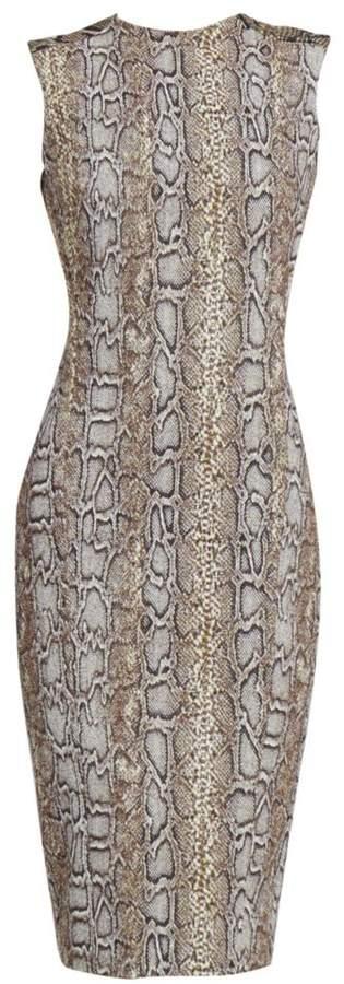 Victoria Beckham Sleeveless Snake-Print Twist-Back Dress