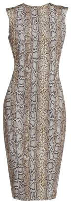 Victoria Beckham Sleeveless Snake-Print Twist-Back Dress