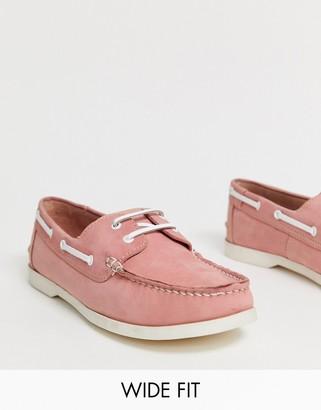 KG by Kurt Geiger Kg Kurt Geiger wide fit boat shoe in pink suede