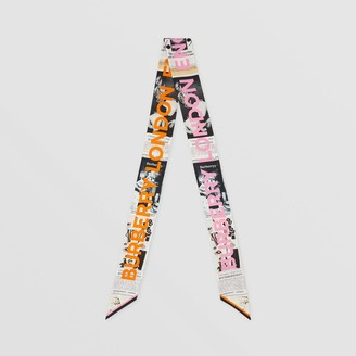 Burberry Archive Editorial Print Silk Skinny Scarf