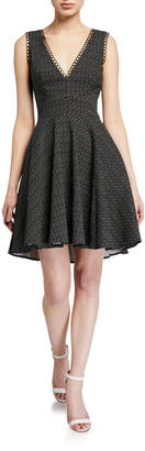 Monique Lhuillier Sleeveless Fit And Flare Printed Dress