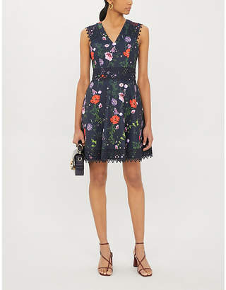 Ted Baker Floral-print fit-and-flare satin mini dress