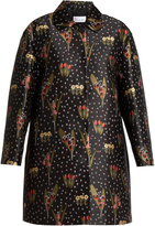 RED Valentino Blooming Garden-jacquard round-collar coat