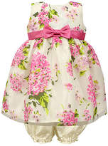 Jayne Copeland Fuchsia Pink Floral Bow Fit & Flare Dress & Bloomers - Infant