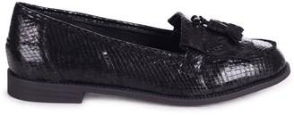 Linzi ROSEMARY - Black Snake Effect Leather Classic Slip On Loafer