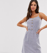 Brave Soul Tall button up cami dress in stripe