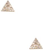 14k Gold & Pave Black Diamond Triangle Stud Earrings