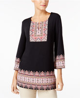 JM Collection Petite Printed Tunic, Only at Macy's