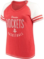 Unbranded Women's Soft as a Grape Red Houston Rockets Plus Size Color Blocked Raglan Tri-Blend V-Neck T-Shirt