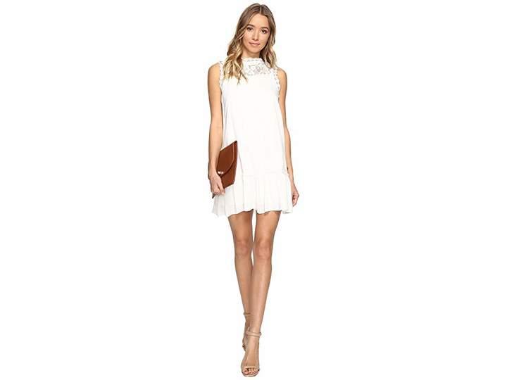 BB Dakota Barnes Slub Gauze Lace Dress with Ribbon Trim Women's Dress
