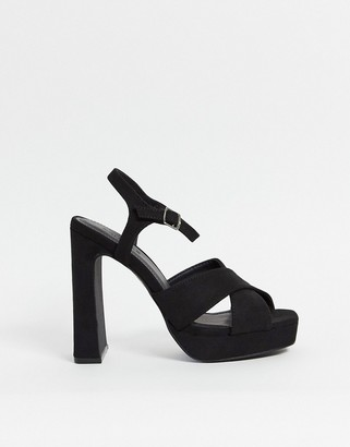 Truffle Collection cross strap platform heeled sandals in black