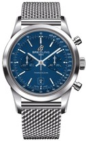 Breitling Transocean Chronograph 38 blue dial stainless steel bracelet watch