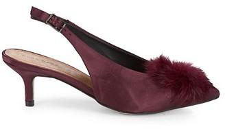 Saks Fifth Avenue Satin Faux-Fur Kitten-Heel Slingback Pumps