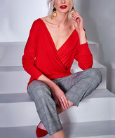 Milan Kiss Women's Blouses RED - Red Mock Wrap Blouse - Women