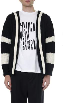 Saint Laurent Black And White Wool Cardigan