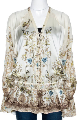 Roberto Cavalli Cream Floral Shimmer Print Silk Ruched Blouse L
