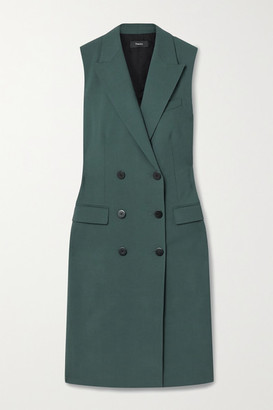 Theory Double-breasted Stretch-wool Vest - Forest green
