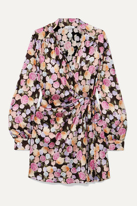 ART DEALER Margot Ruched Floral-print Satin Wrap Mini Dress - Black