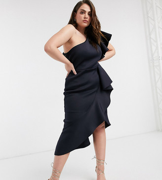 True Violet Plus one shoulder ruffle midi dress in midnight navy
