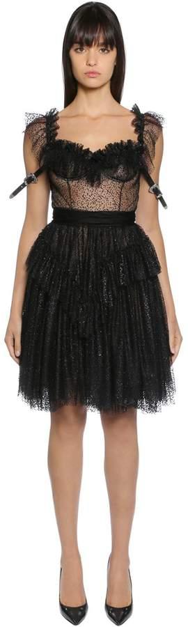 DSQUARED2 Polka Dot Tulle Dress W/ Western Straps