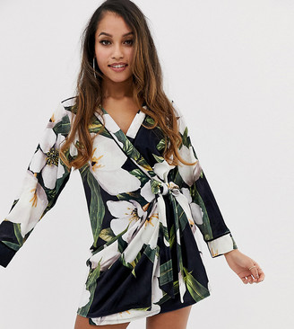 Asos DESIGN Petite bamboo print velvet mini wrap dress-Multi