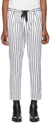 Dolce & Gabbana White and Black Striped Trousers