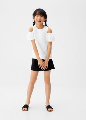 MANGO Shoulder organic cotton shirt off white - 5 - Kids
