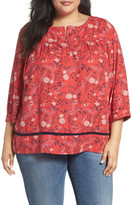 Caslon Mixed Print Top (Plus Size)