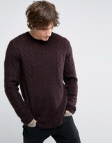Asos Mohair Mix Cable Sweater in Chocolate Brown